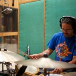 Resonance drummer Greg German at Fantasy Studios