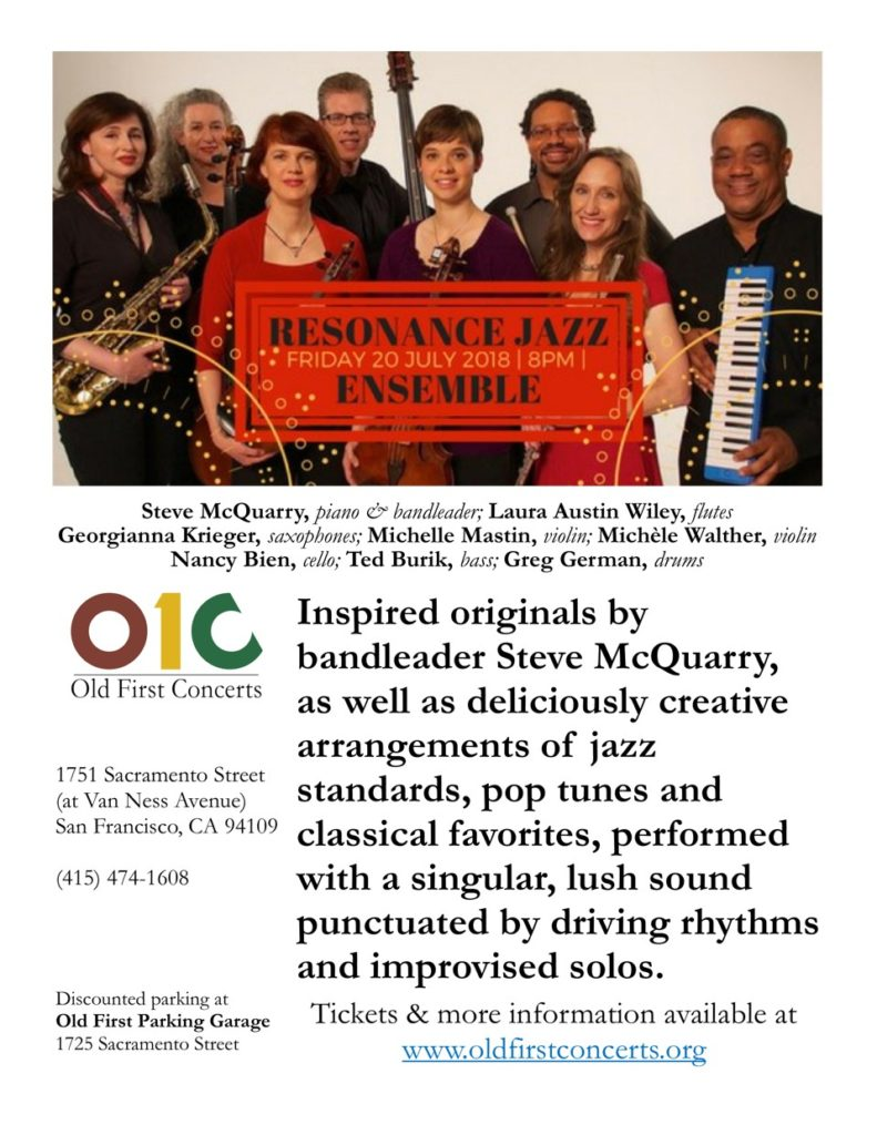 Resonance Jazz Old First July 20 2018